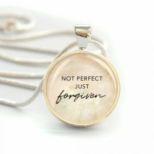 """Not Perfect, Just Forgiven"" Silver-Plated Christian Pendant Necklace"