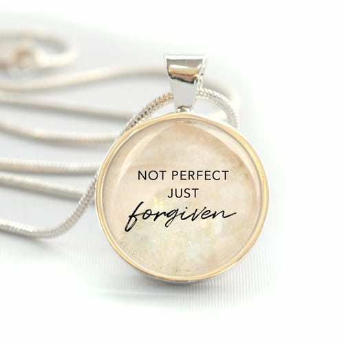 """""""Not Perfect, Just Forgiven"""" Silver-Plated Christian Pendant Necklace"""